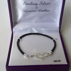 🆕 Sterling Silver Rhinestone and Leather Bracelet